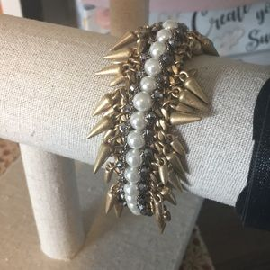 Stella & Dot Antiqued Gold,Pearls,Spikes Bracelet